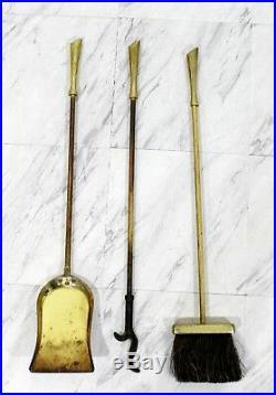 Mid Century Modern Brass Fireplace Tool Set Brush Poker Shovel 1960s ABF