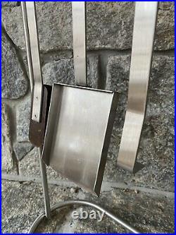Mid Century Modern Contemporary Stainless Steel Fireplace Tools Set Conmoto