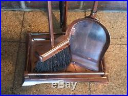 Mid Century Modern Copper Fireplace Tools 4 Pcs Set with Stand Nice Condition 29