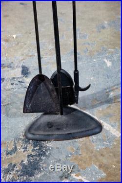 Mid Century Modern Fire Tools Metal Brass Pilgrim Seymour Preway Set Stand Gold
