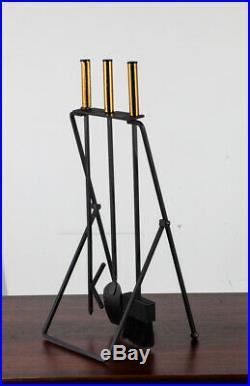 Mid Century Modern Fireplace Tool Set Gene Tepper Modernist Cast Iron Brass Mcm