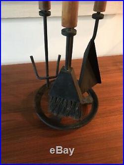 Mid Century Modern Fireplace Tools Set Iron Tapered Wood Modernist 40