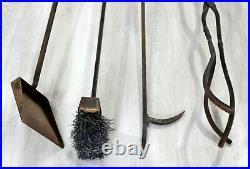 Mid Century Modern Hand Forged Iron Fireplace Tool Set Brush Poker Shovel 1960s