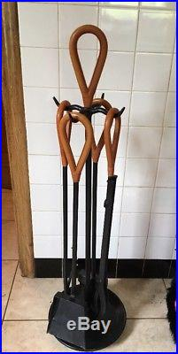 Mid Century Modern Jacques Adnet Style Leather Wrapped Fireplace Tools Tool Set