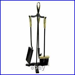 Mid Century Modern Petite Brass Iron Fireplace Tool Set Brush Poker Shovel 1960s