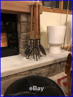 Mid Century Modern Seymour FIREPLACE TOOLS poker shovel broom stand Vtg Iron