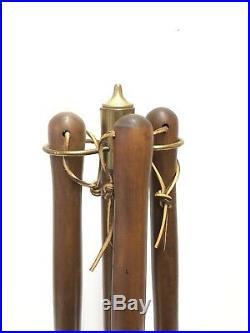 Mid Century Modern Seymour Fireplace Tool Set Retro Vintage Iron & Wood MOD