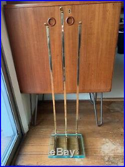 Mid Century Modern Solid Brass and Glass Fireplace Tool Set Fontana Arte