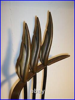 Mid Century Modern Stylized Flame Leaf Brass Iron Andirons & Fireplace Tool Set