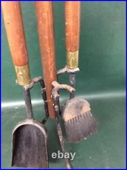 Mid Century Modern Wooden Handle & Iron Fireplace Tool Set Seymour 36 3 Pcs