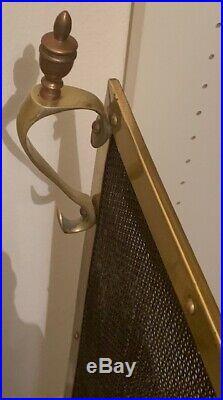 Mid Century Solid Brass Fireplace Set Andirons, Tools, Screen, Log Holder