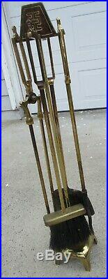 Mid Century Vintage Sunset Brass Fireplace Tool Set Asian Hollywood Regency MCM