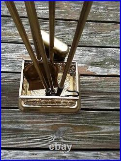 Mid-century Art Deco brass 5 pc fireplace tool set, ornate grill work