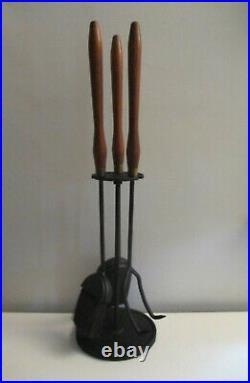 Mid-century Modern Iron & Walnut Handled Fireplace Tools Set Seymour Umanoff