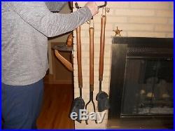 Mid century Seymour wall mount hanging fireplace tools set vintage 1960's retro