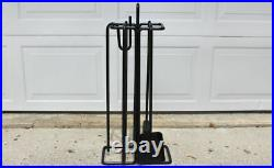 Minimalist iron fireplace tool set by Ann Maes for Mace Line post modern black