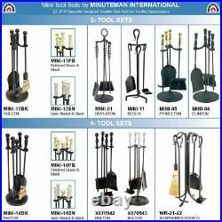 Minuteman Int Bolton 5-pcs Mini Fireplace Tool Set, Polish Pewter & Black New