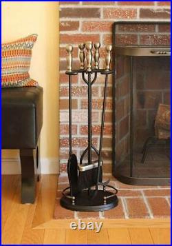 Minuteman International Boston Fireplace Tool Set Polished Chrome/Black New