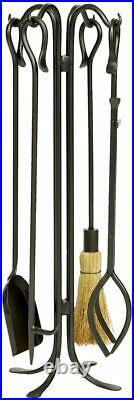 Minuteman International Hearth Hooks 5-piece Wrought Iron Fireplace Tool Set