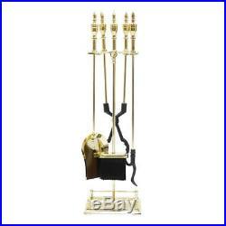 Minuteman International Lexington 5-piece Fireplace Tool Set, Polished Brass