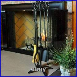 Minuteman International Rope Fireplace Tool Set Graphite/Natural New