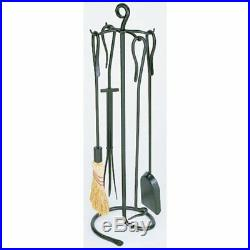 Minuteman International Shepherds Hook 5 pc. Graphite Fireplace Tool Set