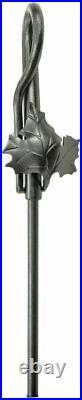 Minuteman Intl. Maple Leaf 5-piece Wrought Iron Fireplace Tool Set, Graphite