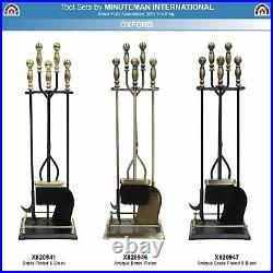 Minuteman Intl. Oxford 5-piece Fireplace Tool Set, Antique Brass and Black
