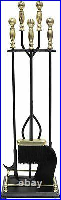 Minuteman Intl. Oxford 5-piece Fireplace Tool Set, Polished Brass and Black