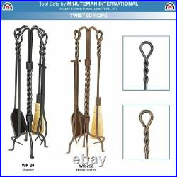 Minuteman Intl. Twisted Rope 5-piece Wrought Iron Fireplace Tool Set, Bronze