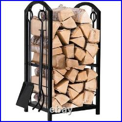 Modern Fireplace Log Rack 4 Tools Set Holder Indoor Outdoor Ergonomic Design