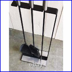 Modern Fireplace Tool Set in Brushed Chrome After George Nelson NO RESERVE