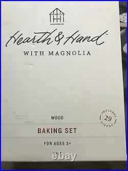 NIB 2017 Hearth & Hand 29 Pc WOODEN TOY BAKING SET Cookies Baking Tools