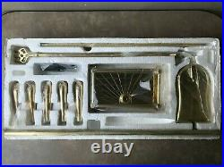 NOS! Vintage Solid Brass Duck Head Fireplace Tool Set 5 Piece 4 Tools & Stand