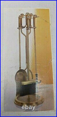 NOS! Vintage Solid Brass Duck Head Fireplace Tool Set 5 Piece Tools & Stand
