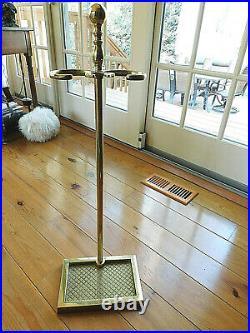 Never Used Va Metalcrafters 5 Piece All Brass Fireplace Tool Set