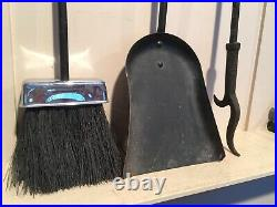 Nice Vintage Mid Century Cast Iron and Chrome Finial Fireplace Tool Set