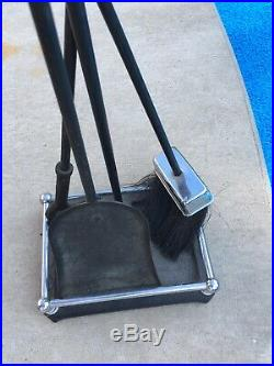Nice Vintage MidCentury Cast Iron and Chrome Finial Fireplace Tool Set