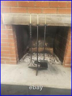 Nice Vintage MidCentury Donald Deskey Cast Iron Brass Finial Fireplace Tool Set