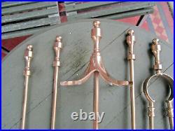 Old Antique Tall Brass Elegant Edwardian Fireside Companion Set & 4 Tools c1905