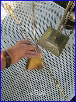 Old Antique Tall Edwardian Brass Fireside Companion Set with 4 Tools c1910