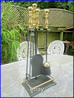 Old Antique Victorian Style Tall Fireside Companion Set 4 Tools Gilt Handles