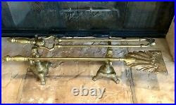 Old Fireplace Tools Solid Brass with Stands / English Lion Footed 4 Pc Set