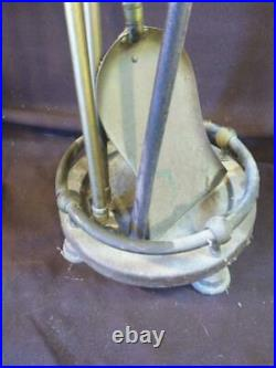 Old Vintage Metal Brass Fire Place Tools Set Tongs Shovel Poker Stand Firetools