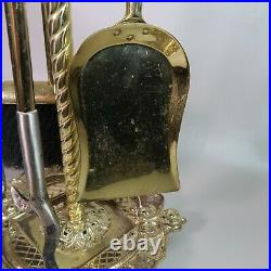 Ornate Antique Fireplace 4 Pc Tool Set SOLID BRASS with Stand Over 20 lbs
