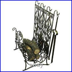 Ornate French Scroll Brass Gold Iron Log Rack Fireplace Tool Set Old World