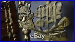 Oscar Bach Sailing Ship Brass Antique Fireplace Tool Set Eagle Top