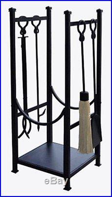 Panacea 15234 Log Bin and Fireplace Tool Set with 4 Tools Black