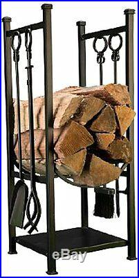 Panacea Log Bin + 4PC Fireplace Tool Set Black Fire Wood Rack Storage Firewood