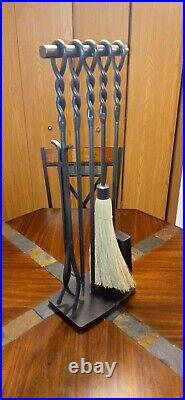 Pilgrim 5 Piece Fireplace Tool Set, Soldier Row. Vintage Iron